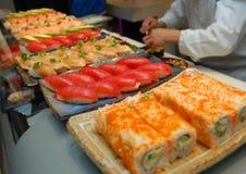 Sushi Preparation On Kitchen Stock Photos