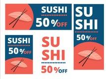 Sushi 50 procent rabattbaner, reklamblad, orienteringar med formatet A4, Arkivfoton