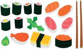 Sushi réglés avec des baguettes Photographie stock libre de droits