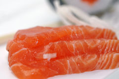 Sushi raw fresh salmon Royalty Free Stock Images