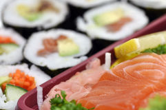 Sushi raw fresh salmon Stock Photography