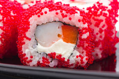 Sushi with red caviar Stock Photos