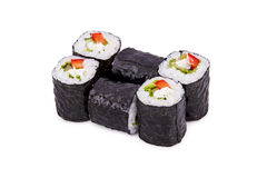 Sushi red pepper kappa maki. Isolated on a white background Stock Image