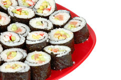 Sushi on red plate Royalty Free Stock Photos