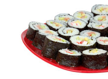 Sushi on red plate Royalty Free Stock Image