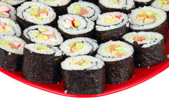 Sushi on red plate Royalty Free Stock Images