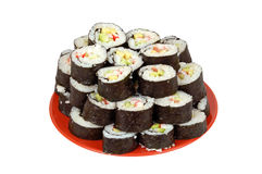 Sushi on red plate Stock Photo