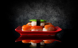 Sushi on red plate Royalty Free Stock Photography