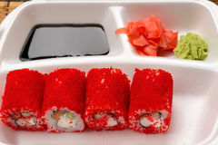 Sushi red rolls in white plate Stock Image