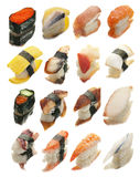 Sushi Reflections. 16 different pieces of sushi shot on glass with reflections Royalty Free Stock Photography