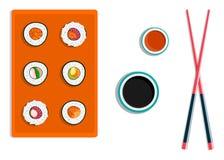 Sushi restaurant. Chopsticks holding sushi roll. Logo design in flat style. Vector illustration. Eps 10 royalty free illustration