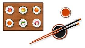 Sushi restaurant. Chopsticks holding sushi roll. Logo design in flat style. Vector illustration stock illustration