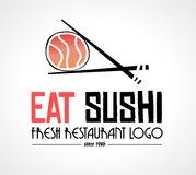 Sushi Restaurant flat style logo design for food company. Brand design or flyers Stock Photos