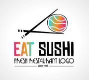 Sushi Restaurant flat style logo design for food company. Brand design or flyers Stock Image