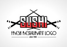 Sushi Restaurant flat style logo design for food company. Brand design or flyers Stock Images