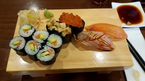 Sushi in restaurant royalty free stock images