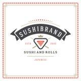 Sushi restaurant logo vector illustration. Japanese food, roll silhouette. Vintage typography badge design Stock Photo