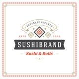 Sushi restaurant logo vector illustration. Japanese food, roll silhouette. Vintage typography badge design Royalty Free Stock Photos