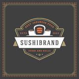 Sushi restaurant logo vector illustration. Japanese food, roll silhouette. Vintage typography badge design Royalty Free Stock Photography