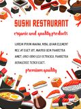 Sushi restaurant menu banner of japanese cuisine. Dishes. Seafood rice, fish roll and nigiri sushi with salmon, shrimp, tuna and caviar, noodle soup, chopsticks Royalty Free Stock Photography
