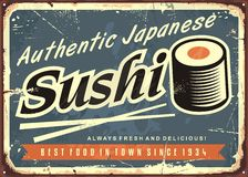 Sushi retro tin sign template. For traditional Japanese seafood restaurant. Vintage poster design with sushi roll and creative text on dark blue background royalty free illustration