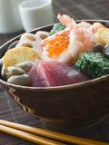 Sushi Rice Bowl with Tuna Salmon Prawn Tofu and Ve Royalty Free Stock Photography