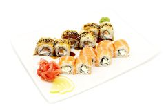 Sushi with rice and fish Royalty Free Stock Images