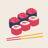 Sushi with rice, fish, seafood and nori Royalty Free Stock Photos