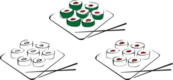 Sushi rolado Fotografia de Stock Royalty Free