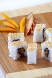 Sushi roll. With session frut in white background Stock Photos