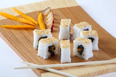Sushi roll. With session frut in white background Stock Images