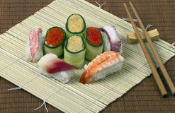Sushi-roll. Useful and healthy food of  seafood, rice and vegetable Stock Photography