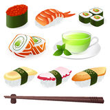 Sushi Roll. Japanese Cuisine - Sushi Roll. Vector set Royalty Free Stock Photo