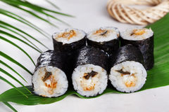 Sushi roll acne eel chives mini kappa maki in the still life on a tropical leaves hosomaki. Sushi roll acne eel chives mini kappa maki in the still life on a Royalty Free Stock Image