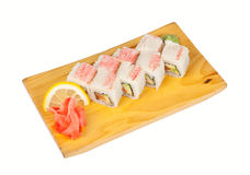 Sushi roll Alaska isolated on white Royalty Free Stock Images