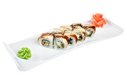 Sushi (Roll Assorted Omori) on a white background Stock Images