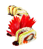 Sushi Roll with avocado, eel and tobiko caviar Stock Images