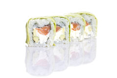 Sushi roll with avocado isolated Royalty Free Stock Images