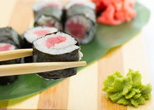 Sushi roll with avocado isolated on white background Stock Photography