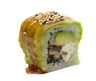 Sushi roll with avocado isolated on white background Royalty Free Stock Image