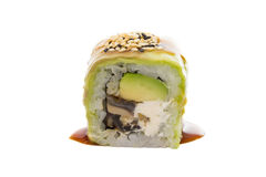 Sushi roll with avocado isolated on white background Royalty Free Stock Photos
