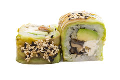 Sushi roll with avocado isolated on white background Stock Photo