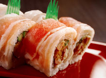 Sushi Roll with  Bacon Stock Photos