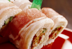 Sushi Roll with  Bacon. Japanese Cuisine - Sushi Roll with  Bacon Stock Photography