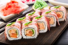Sushi roll with bacon Stock Image