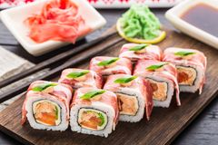 Sushi roll with bacon Royalty Free Stock Photography