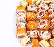 Sushi roll big set with different components. Close up Royalty Free Stock Photo