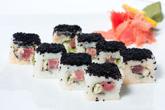 Sushi Roll with black caviar Royalty Free Stock Photography