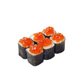 Sushi roll with caviar isolated on white Royalty Free Stock Photo