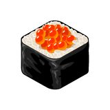 Sushi roll with caviar. Vector flat color illustration. Stock Image